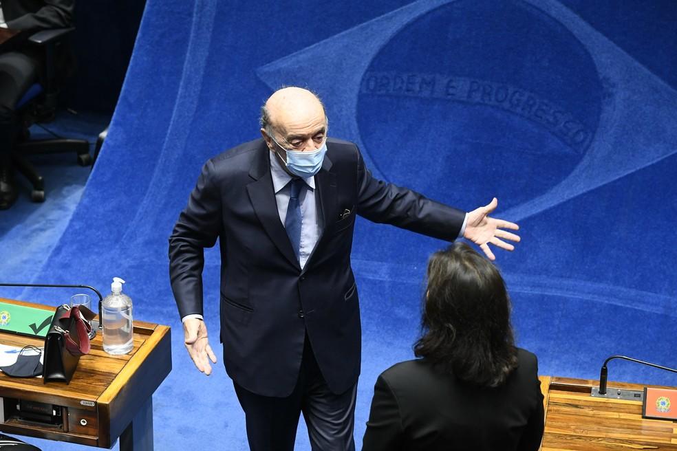 O senador José Serra (PSDB), em sessão no Plenário do Senado em fevereiro de 2021. — Foto: Marcos Oliveira/Agência Senado