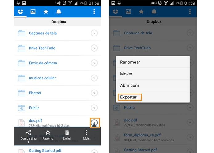 Procure o arquivo que deseja salvar no Android pelo app do Dropbox (Foto: Reprodução/Barbara Mannara)