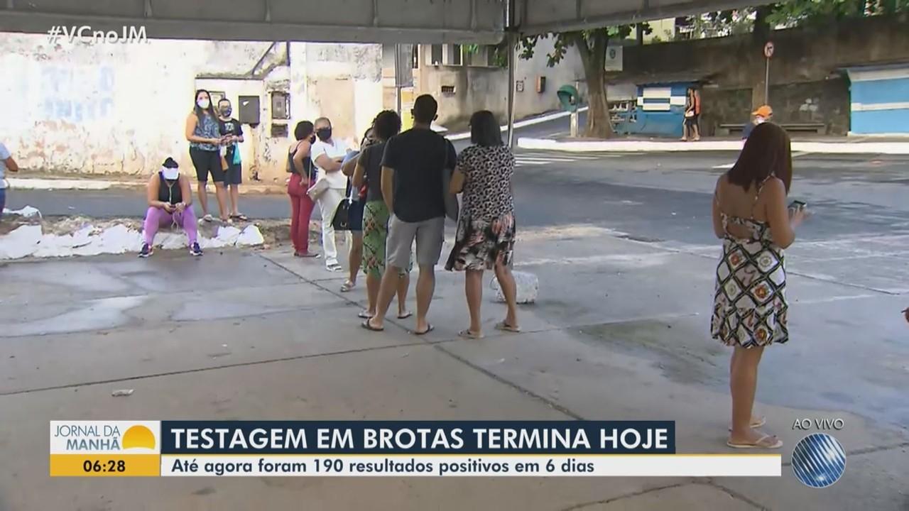 Testagem para Covid-19 encerra no bairro de Brotas, em Salvador
