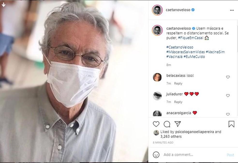 Caetano Veloso pede uso de máscaras e distanciamento social — Foto: Reprodução/Instagram