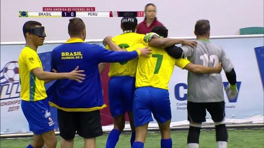 Brasil goleia o Peru e mantém a liderança do Campeonato das Américas de Futebol de 5