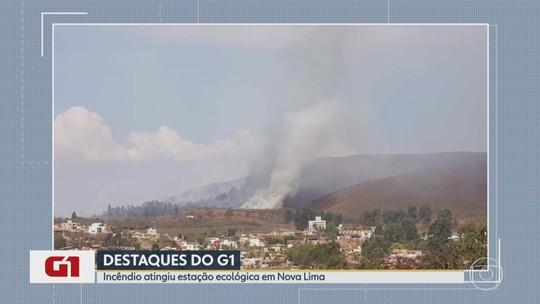 Incêndios atingem estação ecológica, área da Vale e vegetação na MG-030, em Nova Lima