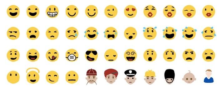 Emojis da Microsoft tem cores mais suaves (Foto: Reprodução/Emojipedia)
