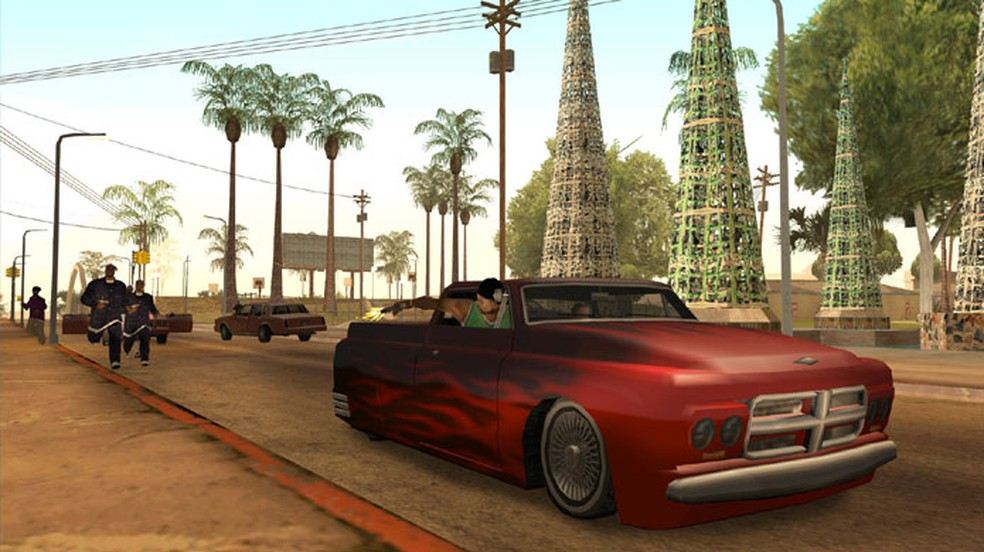 As aventuras de C.J. no grande mundo aberto do crime de GTA: San Andreas eram algums das mais populares nas lan houses — Foto: Reprodução/Steam