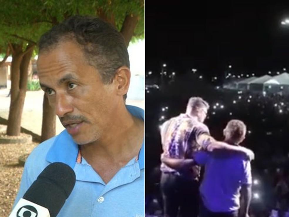 Manoel Gomes, autor de 'Caneta Azul', dá entrevista para a TV Mirante, afiliada da TV Globo, e participa de show de Thiago Brava — Foto: Reprodução/TV Mirante