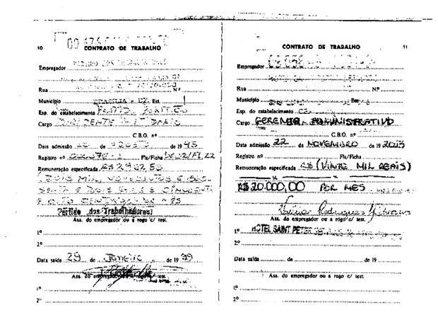 Reprodução de páginas da carteira de trabalho de José Dirceu no Portal do Processo Eletrônico do STF (Foto: Reprodução)