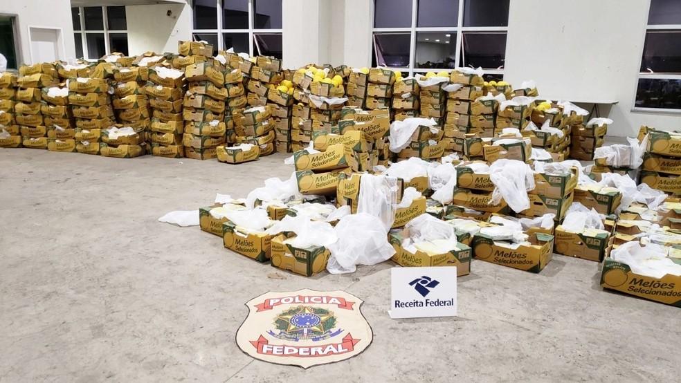 Em duas apreensões, as primeiras e únicas feitas no Porto de Natal, a PF encontrou 3,3 toneladas de cocaína seriam levadas para a Europa em navios. Droga estava escondida em meio a frutas, dentro de contêineres — Foto: PF-RN/Divulgação