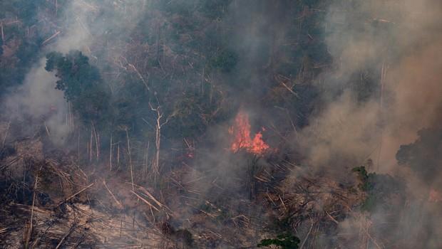 Foco de incêndio na Amazônia, perto de Porto Velho. (Foto: Victor Moriyama/Getty Images)