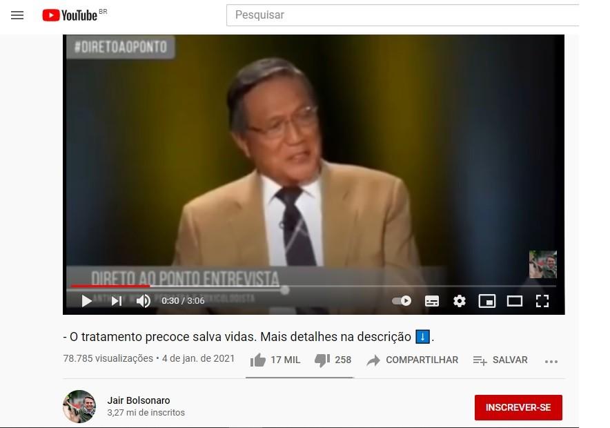 Vídeo compartilhado por Bolsonaro em janeiro prega tratamento sem eficácia