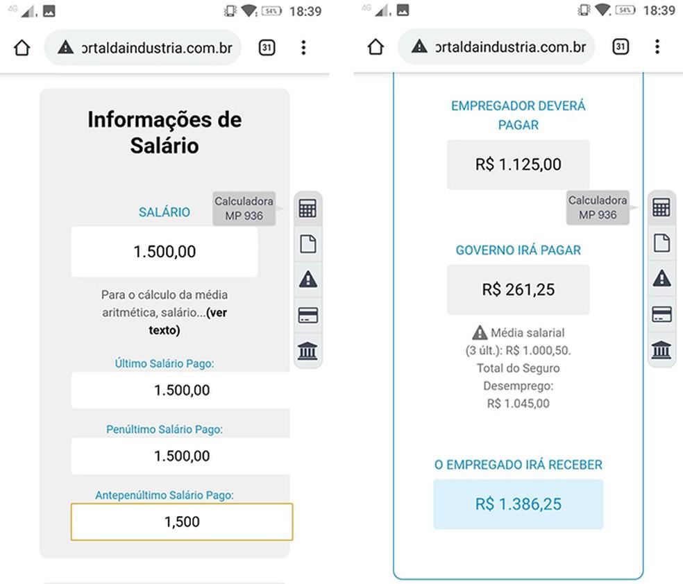 Calculadora online mostra quanto o trabalhador deve receber com o auxílio — Foto: Reprodução/ Marcela Franco