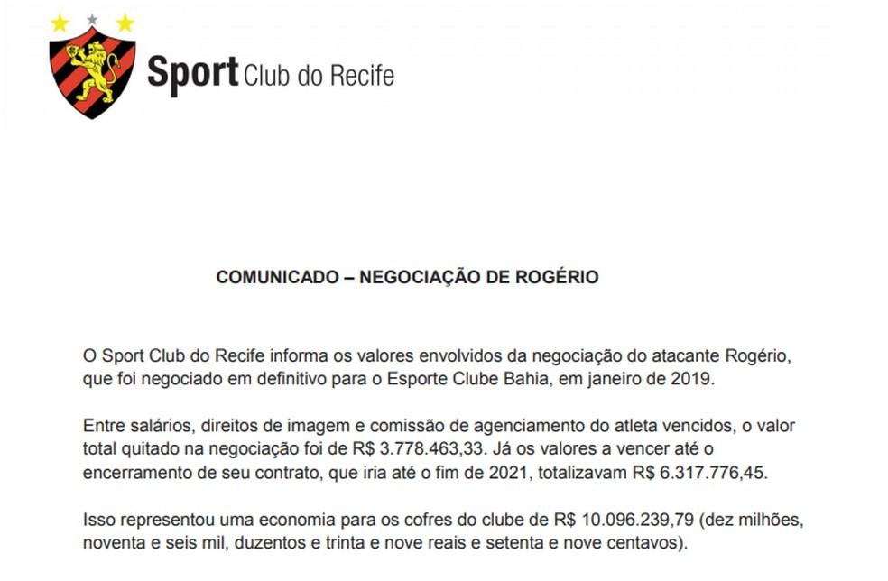 Detalhes sobre a negociação de Rogério pelo Sport — Foto: Site oficial do Sport