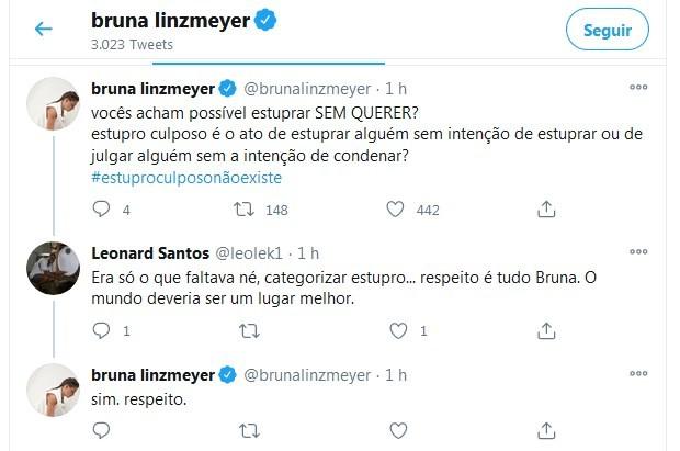 Bruna Linzmeyer posta sobre Mariana Ferrer (Foto: Reprodução/Twitter)