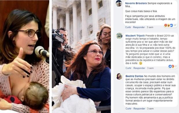 Comparando sua atitude de amamentar na Assembleia com a da senadora que fez o mesmo no Congresso americano (postagem de 26 de abril) (Foto: Reprodução Facebook)