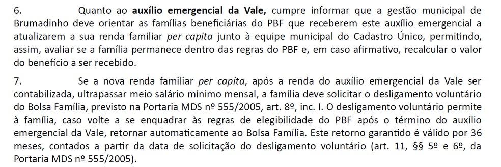 Ofício enviado pelo Ministério da Cidadania à Prefeitura de Brumadinho fala sobre o possível corte do Bolsa Família de atingidos em Brumadinho — Foto: Reprodução