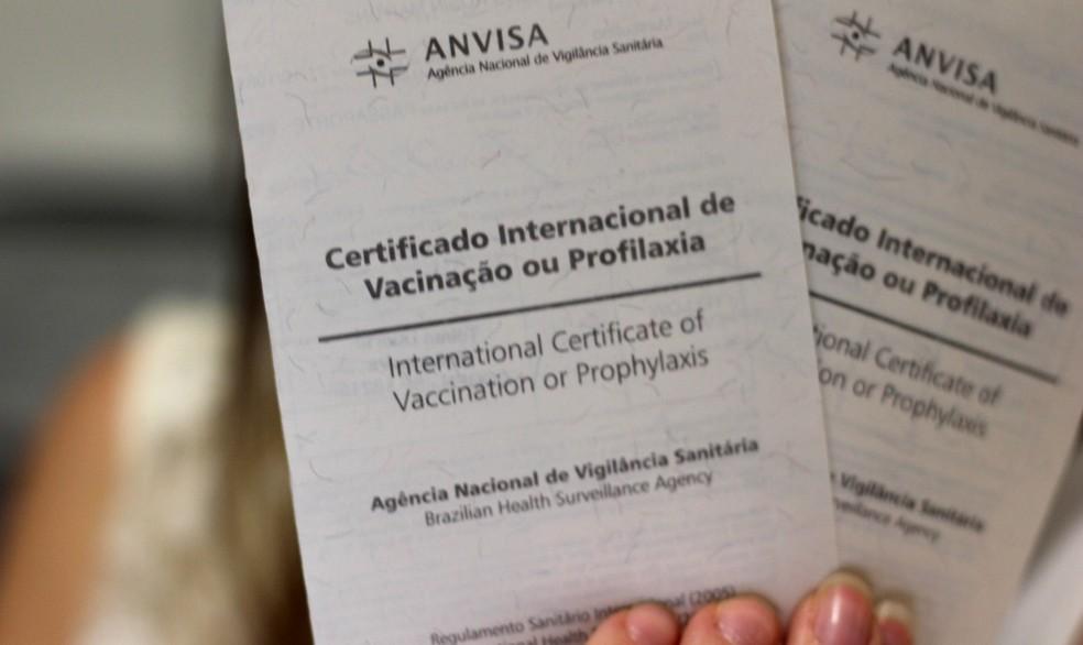 Certificado é exigido em alguns países para viagem (Foto: Divulgação/Anvisa)