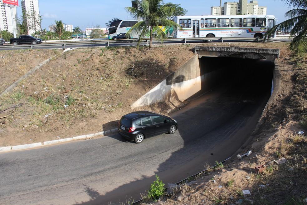 Túnel de acesso à Avenida das Alagoas, na Zona Sul de Natal, será interditado para obra de ampliação — Foto: Arquivo Tribuna do Norte/Aldair Dantas