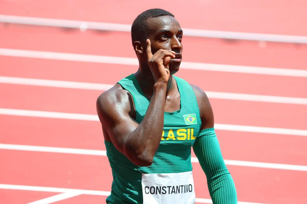 Gabriel Constantino após a semifinal dos 110m com barreiras  — Foto: Abbie Parr/Getty Images