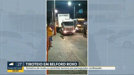 Tentativa de roubo a caminhão termina em perseguição e tiroteio na Baixada Fluminense