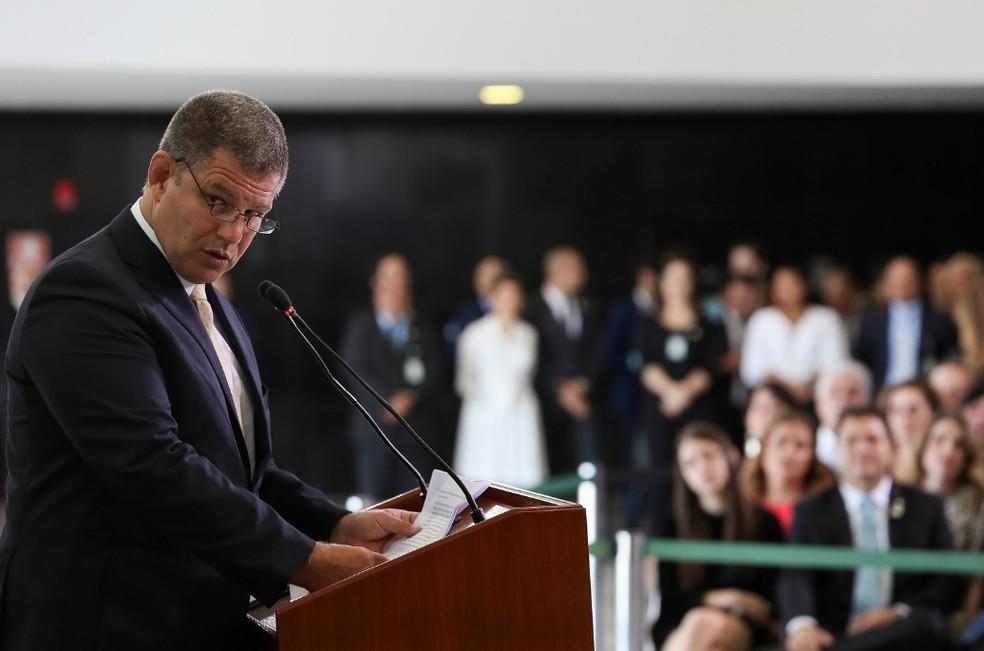 Gustavo Bebianno discursa em cerimônia no Palácio do Planalto — Foto: Marcos Corrêa/Presidência da República