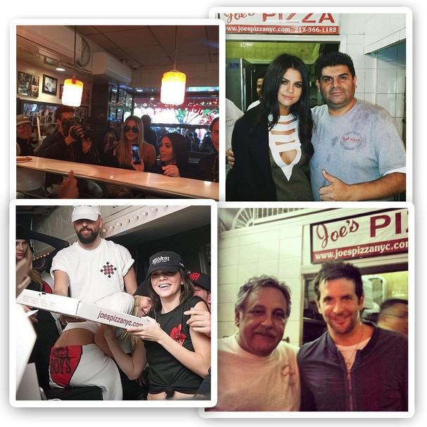 Vai no Joe's Pizza? Prepare-se para encontrar Selena Gomez, Bradley Cooper, Gigi Hadid, Kendall Jenner, Kim e Khloé Kardashian... (Foto: Instagram/Reprodução)