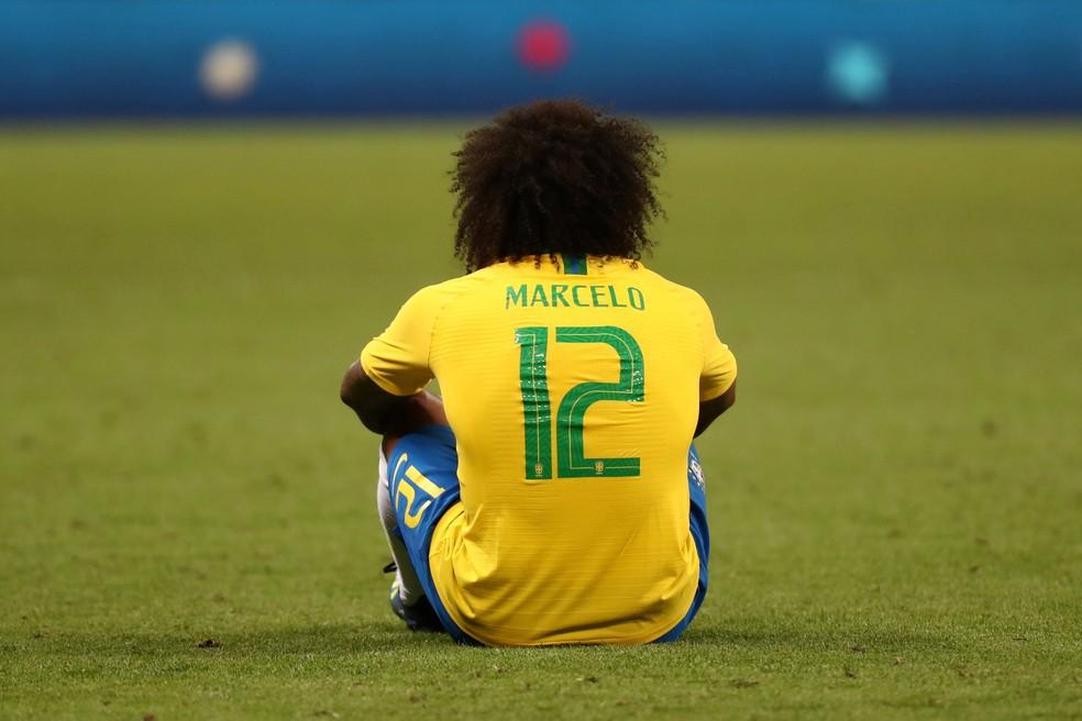 Marcelo em campo na partida contra a Bélgica, pela Copa do Mundo: a última do lateral com a camisa da seleção brasileira — Foto: REUTERS/Sergio Perez