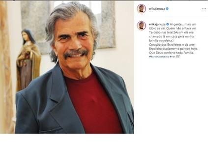 Erika Januza também fez seu post em homenagem ao já saudoso ator Reprodução