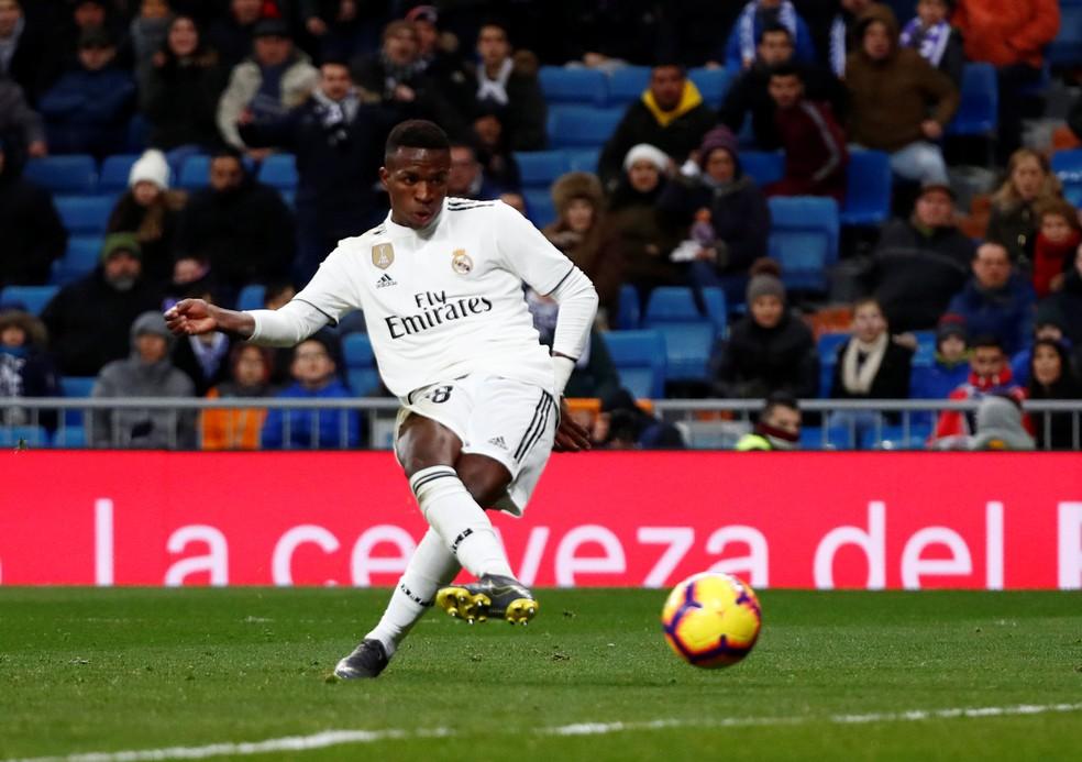Vinicius Junior está em alta no Real Madrid — Foto: Juan Medina/Reuters