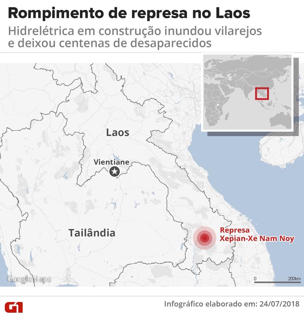 rompimento de represa no laos - Represa se rompe e deixa centenas de desaparecidos no Laos