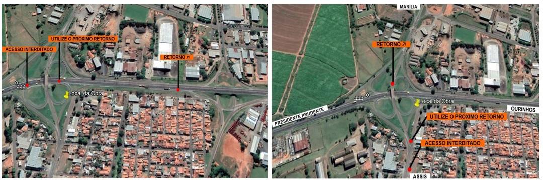 Obras interditam dois acessos da Rodovia Raposo Tavares em Assis