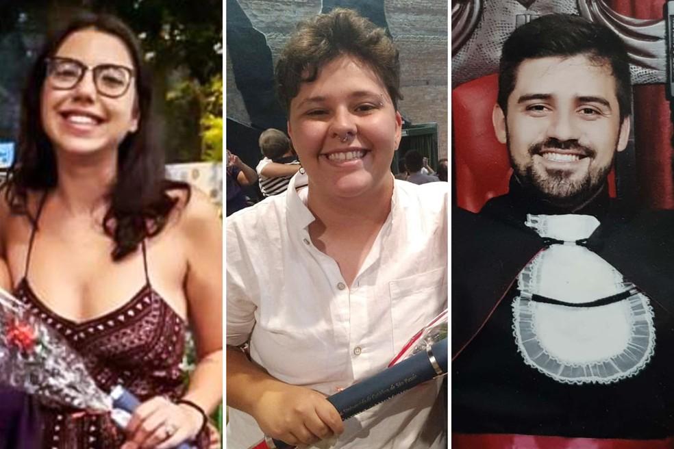 Camila, Bruna e Bruno têm ensino superior, mas não conseguem emprego na área de estudo — Foto: Acervo pessoal