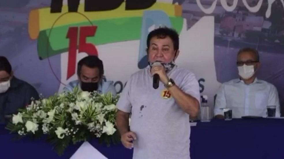 ex-prefeito de Cocal (PI) José Maria Monção durante convenção do MDB — Foto: Reprodução