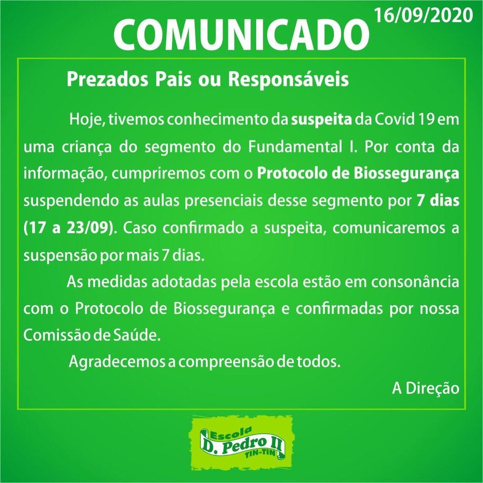 Escola Dom Pedro II suspende aulas presenciais após suspeita de caso de Covid-19 em São Luís (MA) — Foto: Divulgação