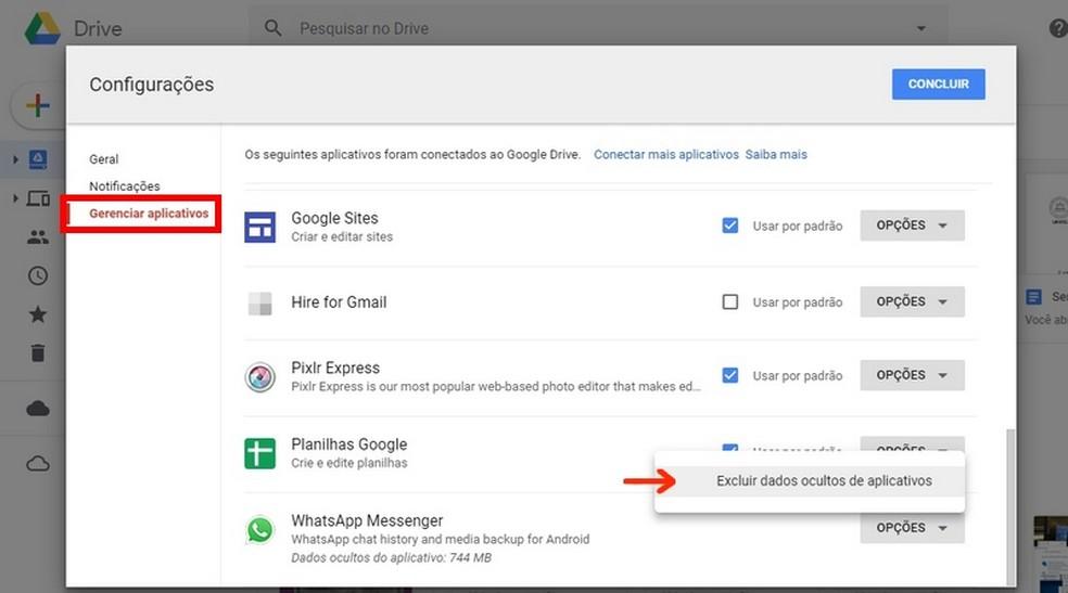 Usuário pode apagar arquivos de backup do WhatsApp no Google Drive — Foto: Reprodução/Raquel Freire