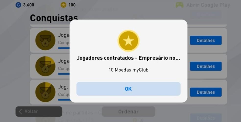 """Sempre que jogar PES 2020 Mobile, acesse a aba """"Conquistas"""" para verificar se seu time foi premiado — Foto: Reprodução/Carlos Palmeira"""