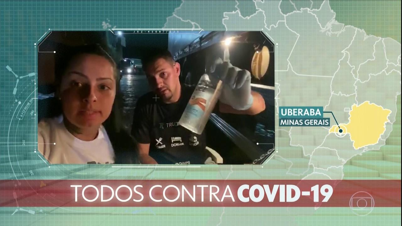 Caminhoneiros e caminhoneiras estão ligados na prevenção contra o coronavírus