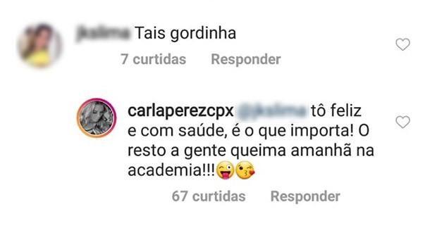 Carla Perez dá resposta a quem lhe chamou de gordinha (Foto: Reprodução/Instagram)