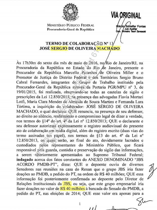 Trecho da delação de Sérgio Machado cita repasse de R$ 40 milhões da JBS para a bancada do Senado do PMDB, a pedido do PT, nas eleições de 2014 (Foto: Reprodução)