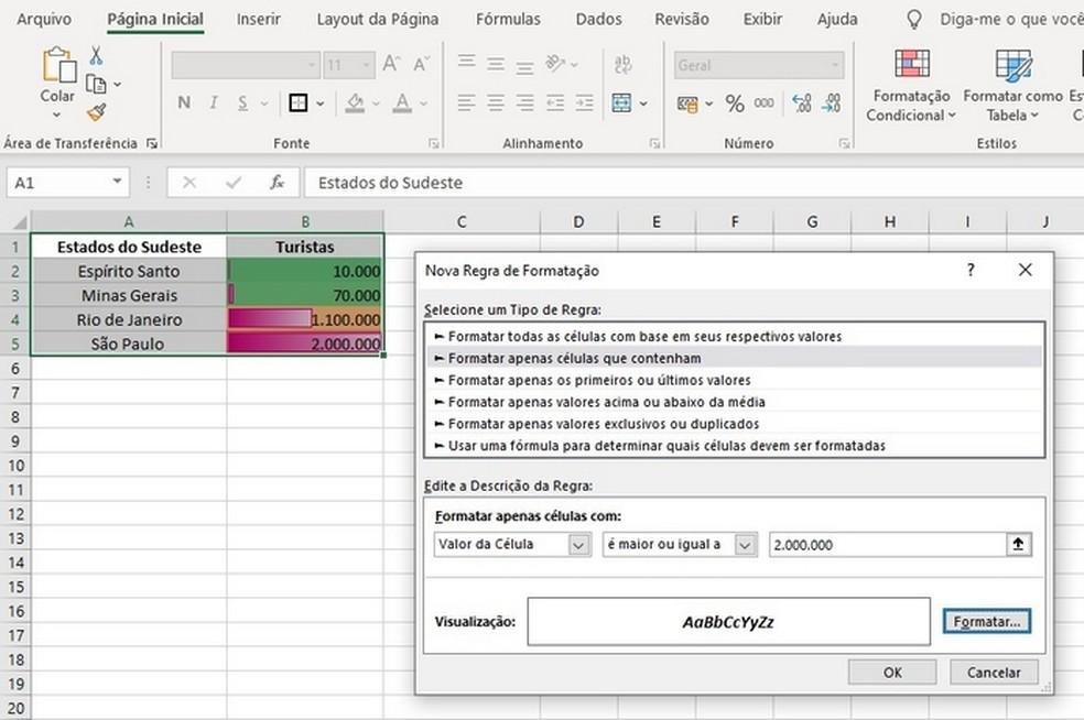 Como mexer no Excel? Aplicação de formatação condicional no editor de programas — Foto: Reprodução/Raquel Freire