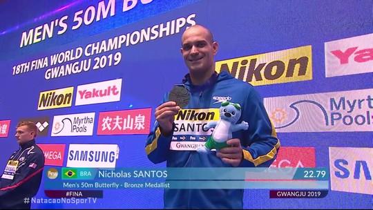 Nicholas Santos recebe primeira medalha do Brasil no Mundial de Esportes Aquáticos de Gwangju