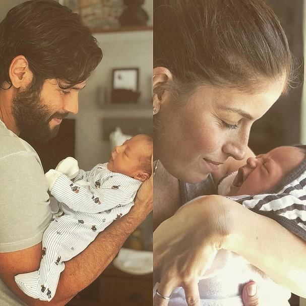 Dudu Azevendo com o filho recém-nascido (Foto: Reprodução / instagram)