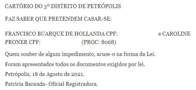 Chico Buarque irá se casar com Caroline Proner (Foto: Reprodução/Diário Oficial)