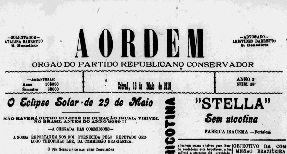 """Jornais brasileiros cobriram o dia a dia das expedições brasileira, britânica e americana em Sobral; alguns chegaram a """"adiantar"""" o resultado favorável a Einstein, mesmo antes de os cientistas compilarem os dados — Foto: Ildeu Moreira"""