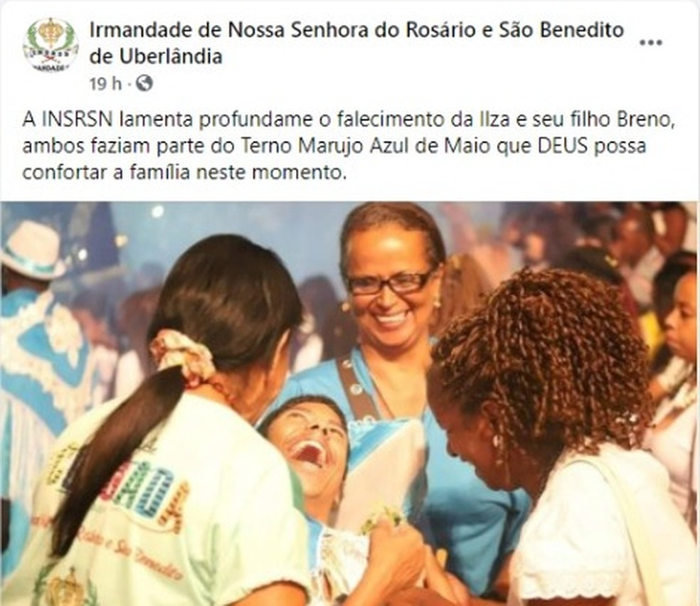 Irmandade integrante do Congado de Uberlândia prestou homenagem a Ilza e Breno — Foto: Redes sociais