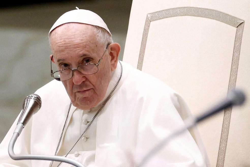 Papa Francisco durante audiência semanal, em 5 de setembro de 2021 — Foto: Guglielmo Mangiapane/Reuters