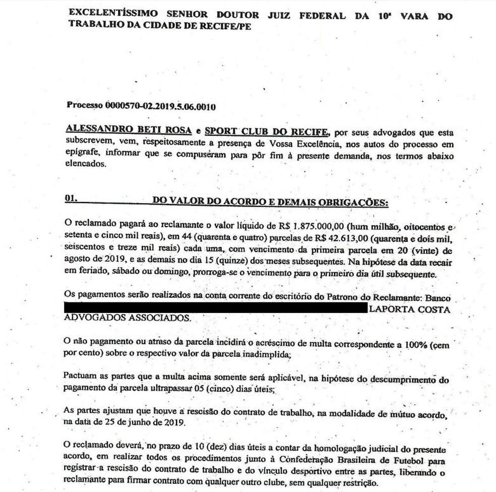 Primeiro trecho do acordo entre Sport e Magrão — Foto: Reprodução