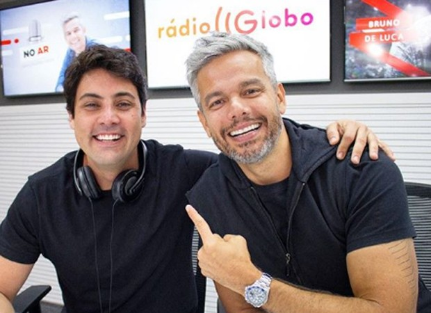 Bruno De Luca e Otaviano Costa na Rádio Globo (Foto: Reprodução/Instagram)