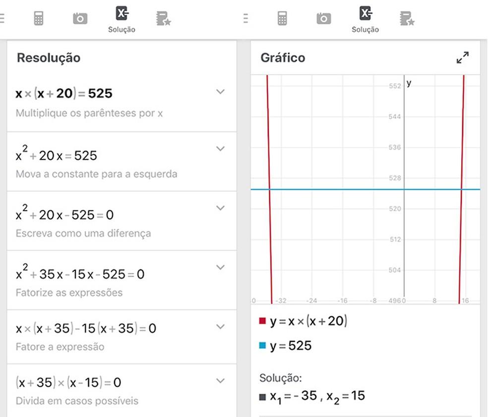 PhotoMath é um aplicativo que digitaliza operações matemáticas e mostra o passo a passo da solução — Foto: Reprodução/Amanda de Almeida