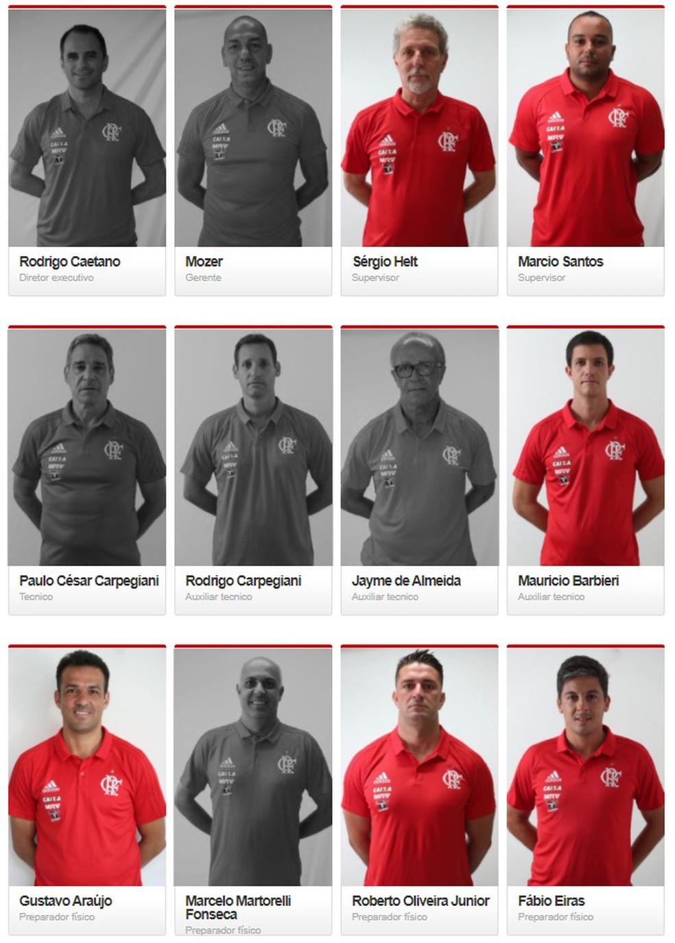 """Na página de """"comissão técnica"""" no site do Flamengo, metade dos 12 primeiros não estão mais no clube (Foto: Infoesporte)"""