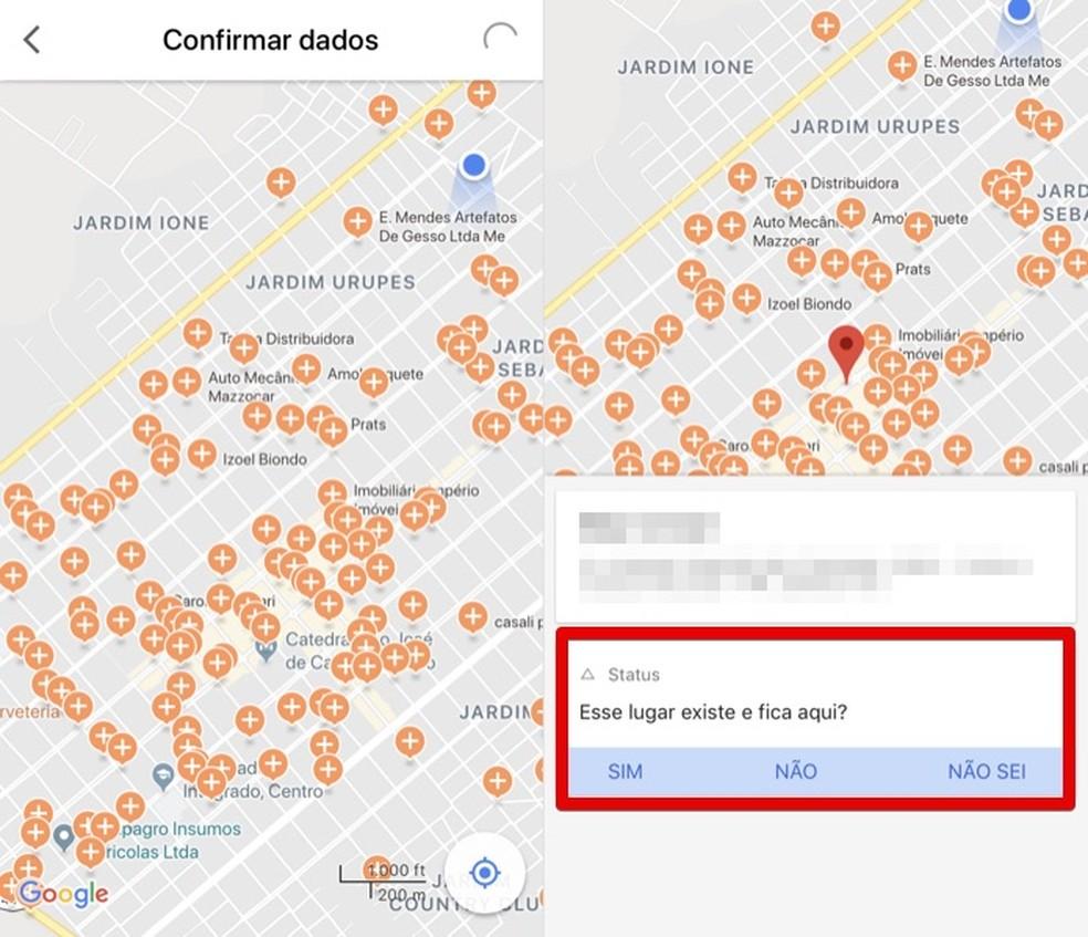 Confirmando dados de lugares próximos — Foto: Reprodução/Helito Bijora