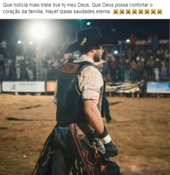 Amigos fizeram posts de homenagens ao peão — Foto: Reprodução